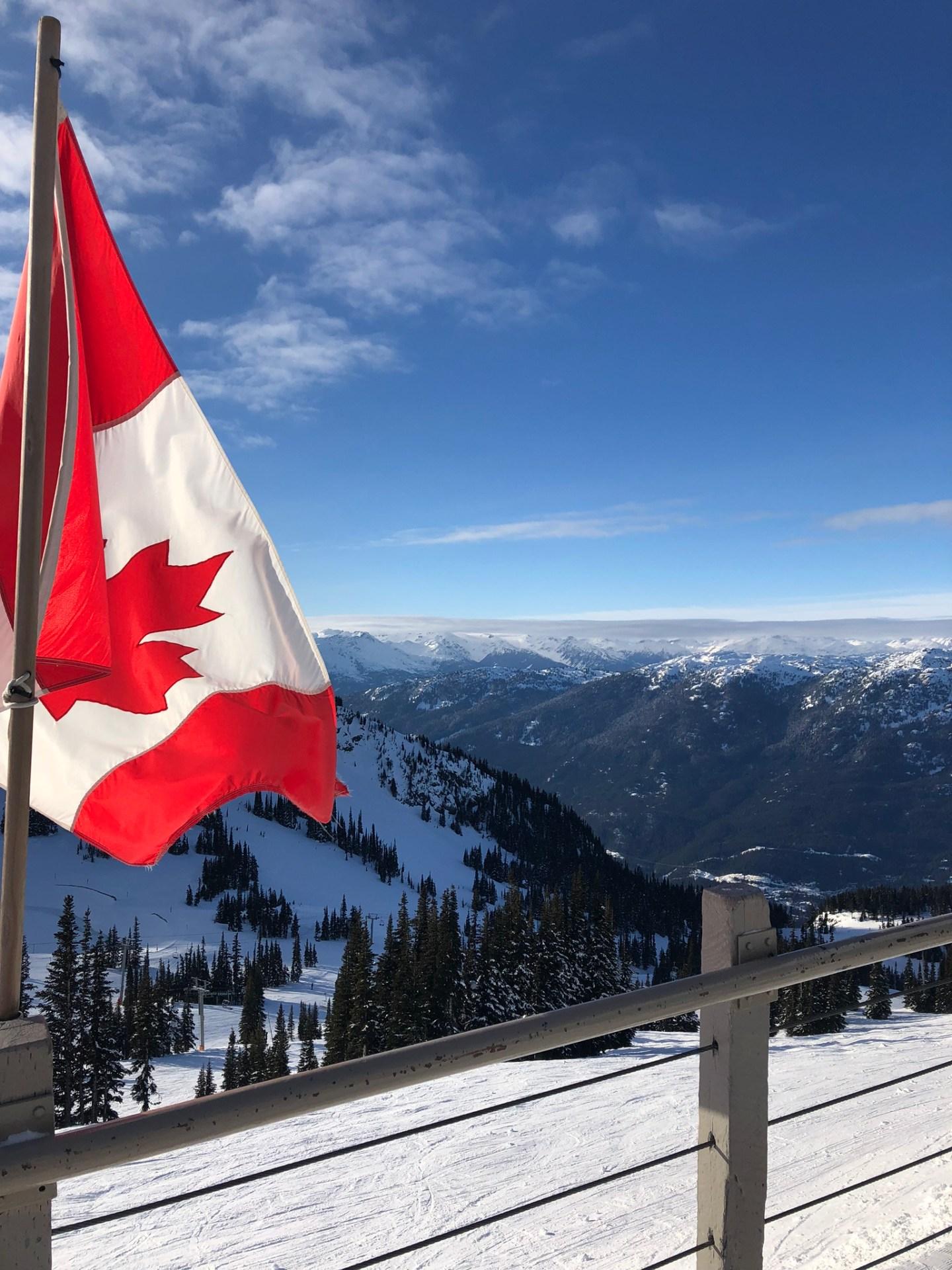 Canada flag at the peak of Whistler mountain