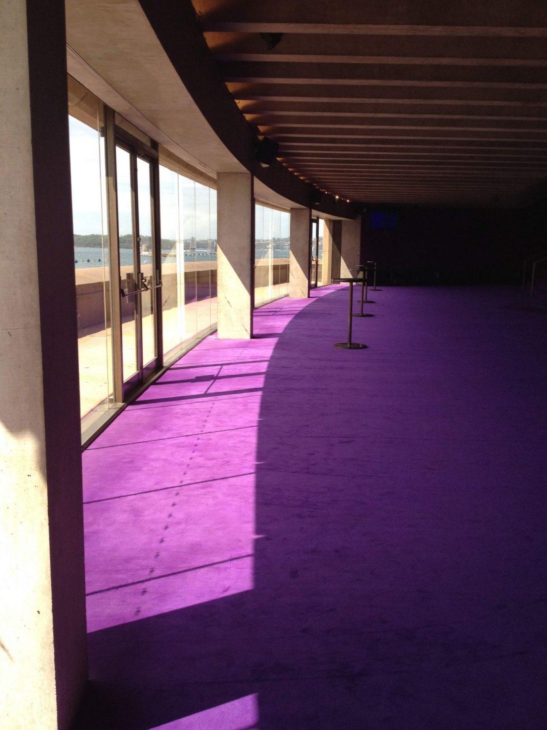Purple carpet of inside Sydney Opera House
