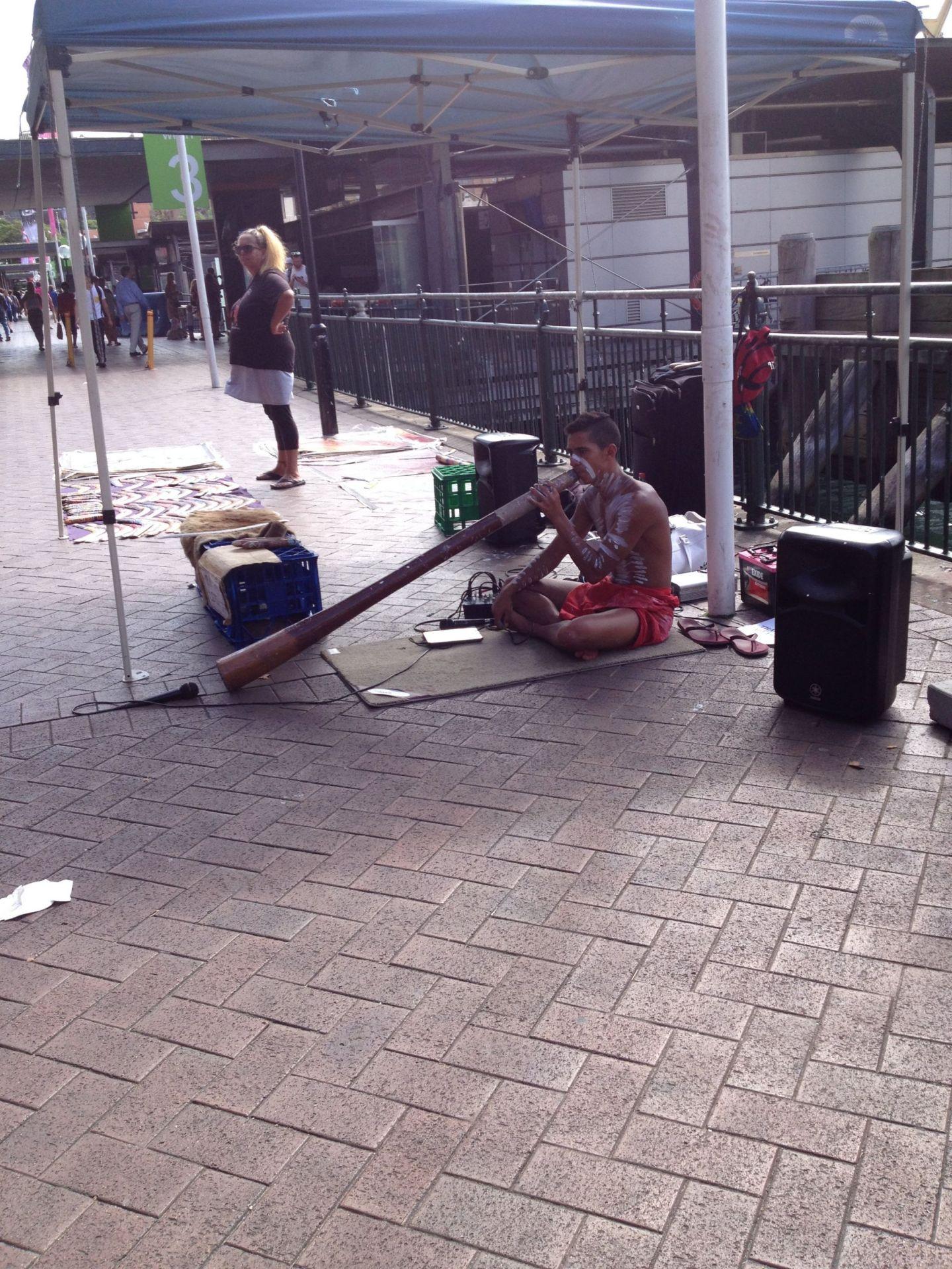 Didgeridoo player at Circular Quay, Sydney
