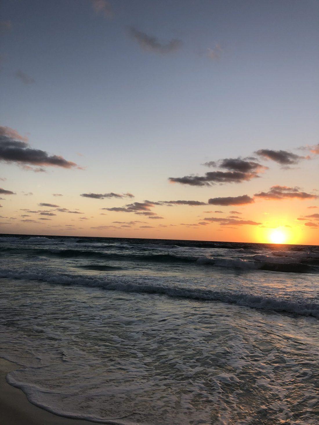 Sunrise on the beach in Cancún