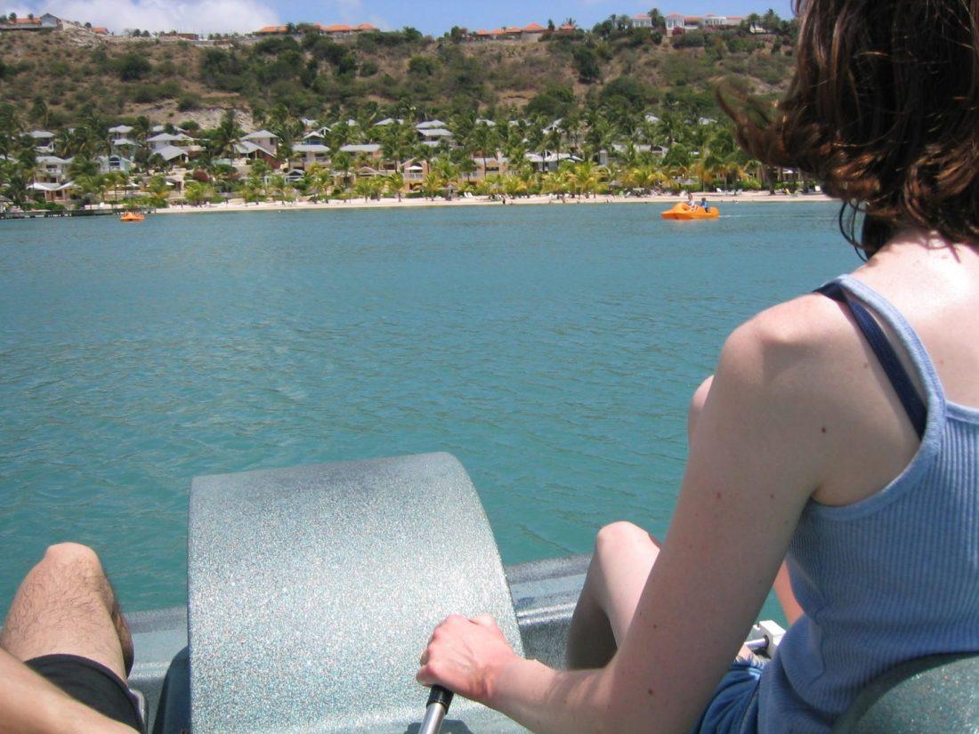 On the pedalos at Mamora Bay Beach, Antigua