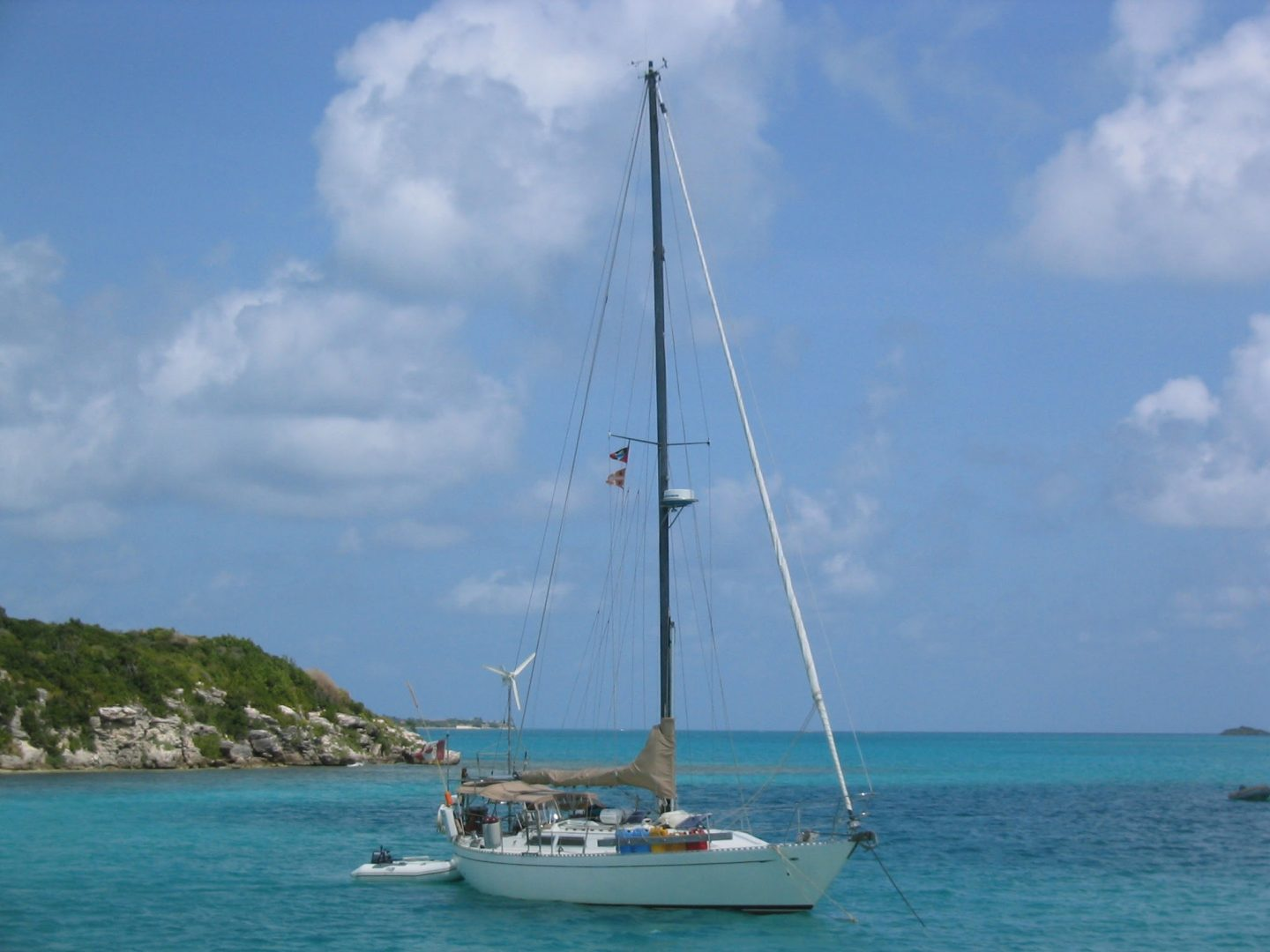 A boat near an island off Antigua, Caribbean