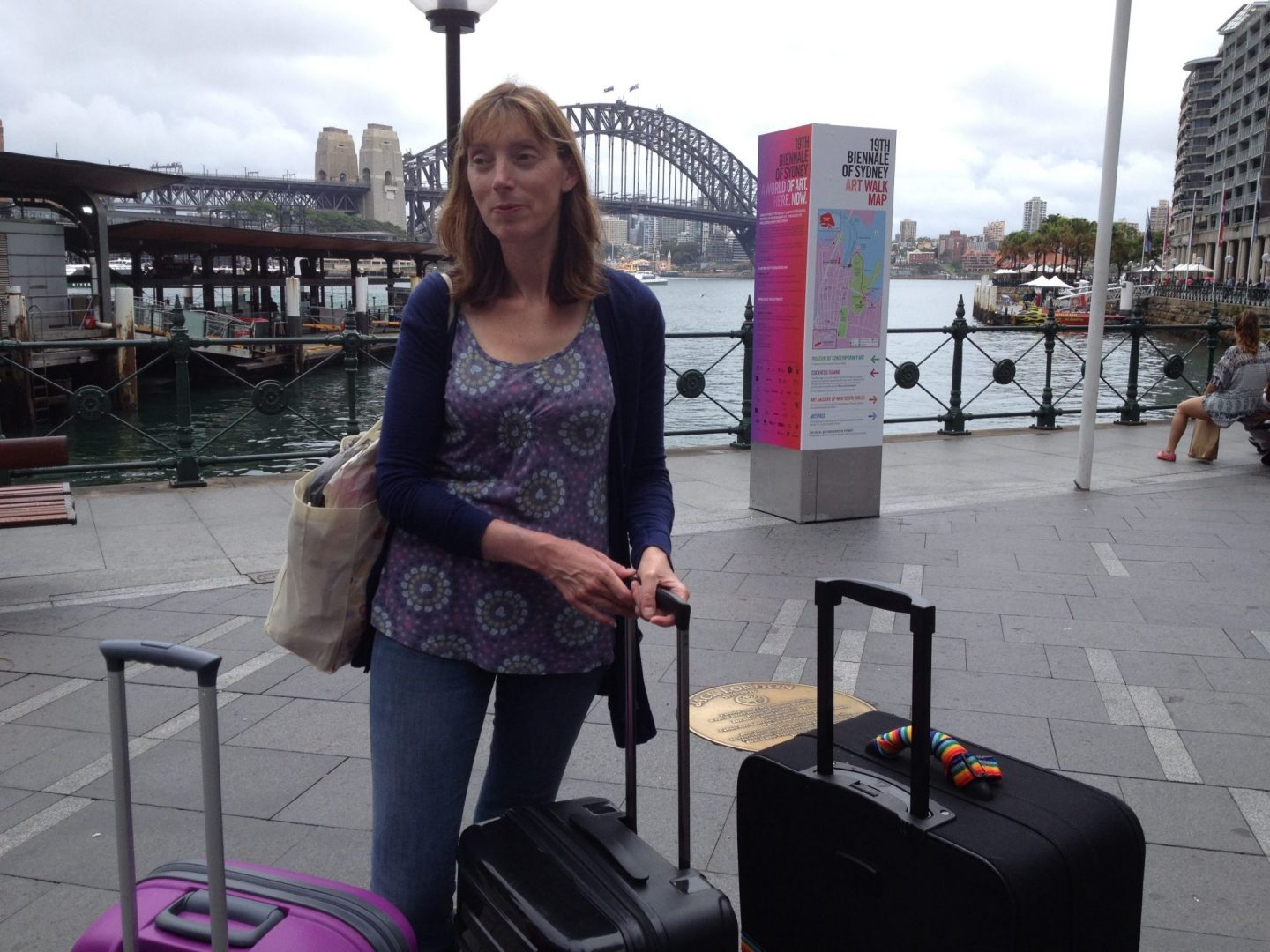 Mum with suitcases on Circular Quay, Sydney