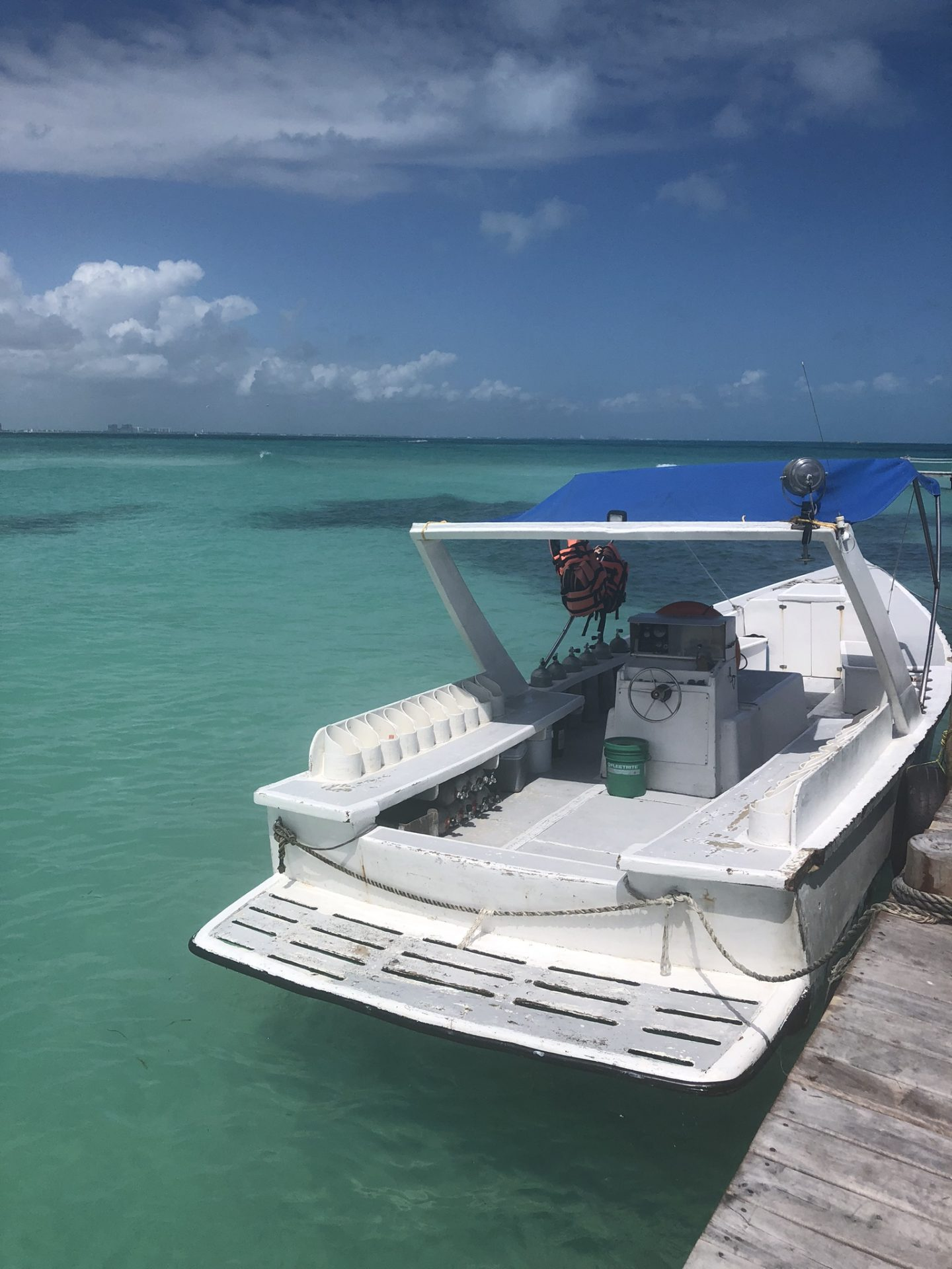 A boat in the Caribbean Sea in Cancun, Mexico