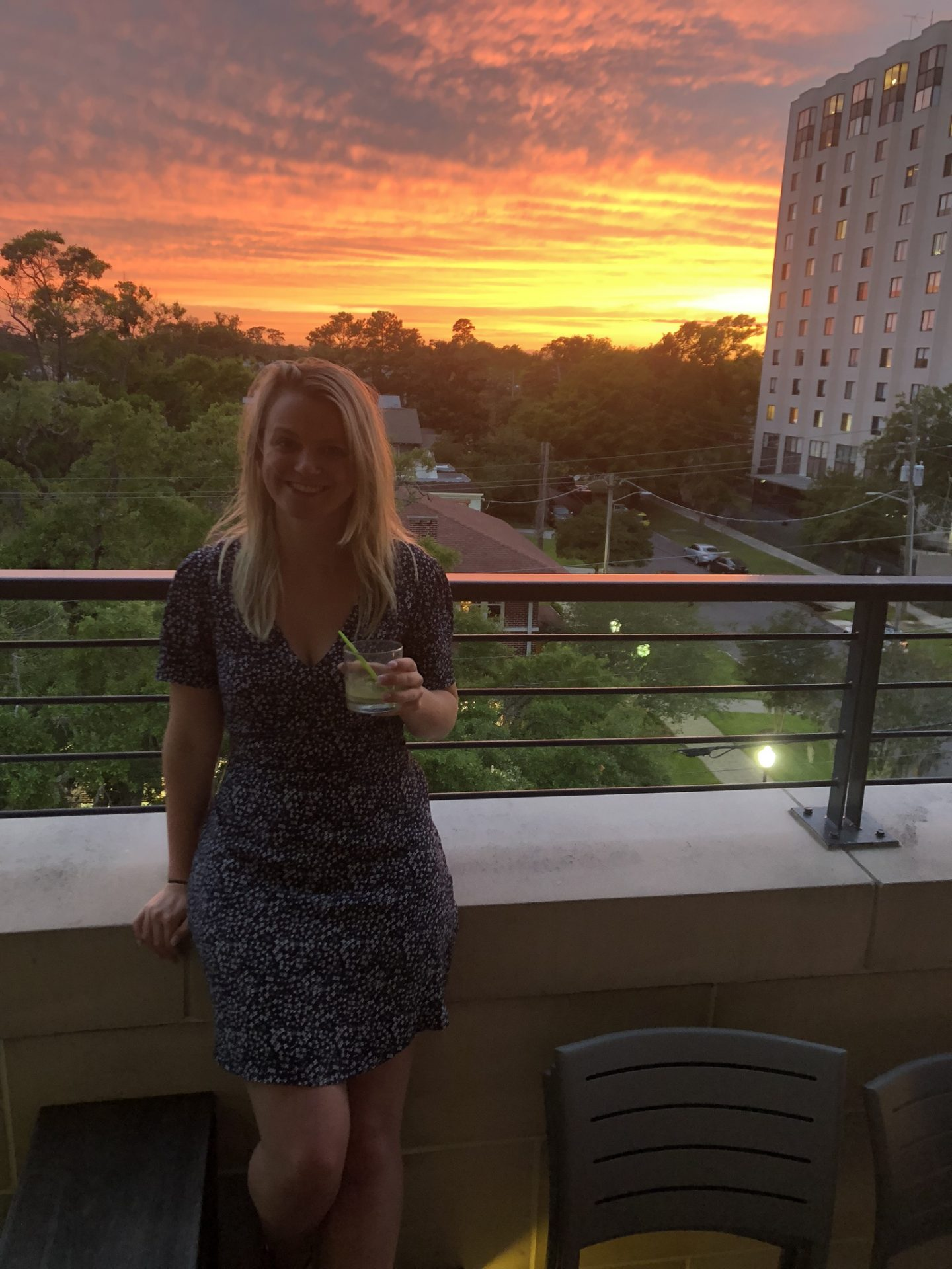 Laura in front of the sunset in Jacksonville, Florida