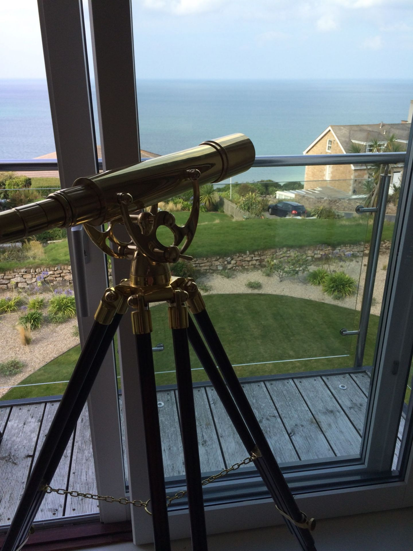 Telescope views over Carbis Bay, Cornwall