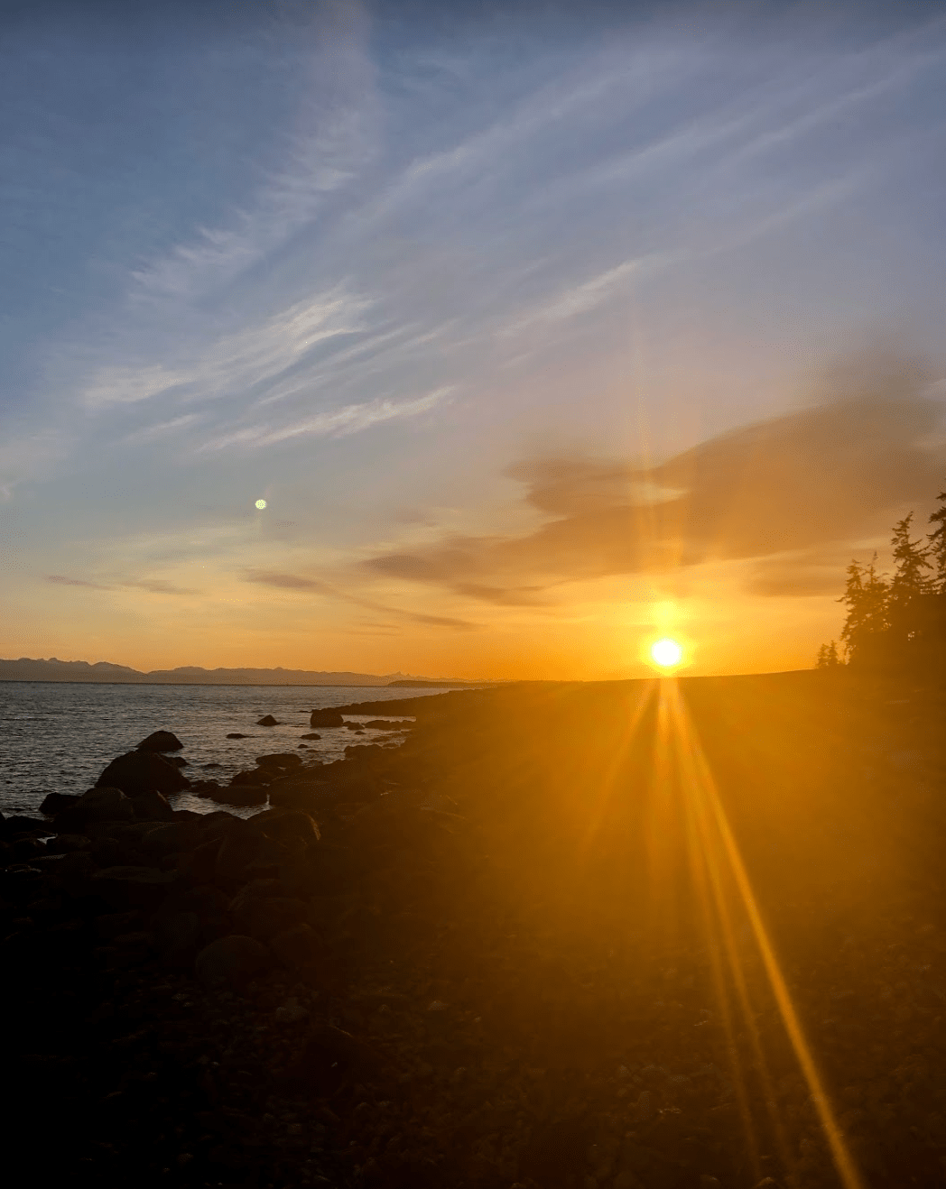 Sunset over Powell River, north Sunshine Coast
