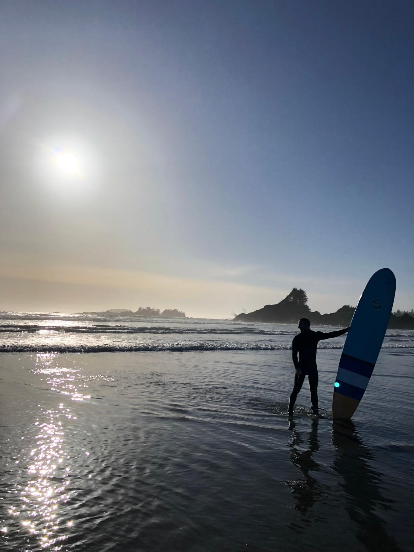 Jordan surfing in Tofino