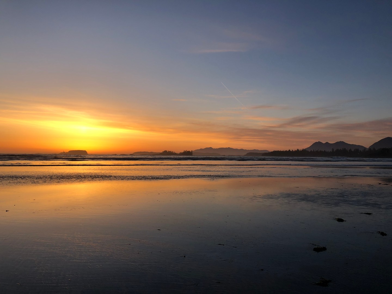 Sunset across Cox Bay Beach, Tofino
