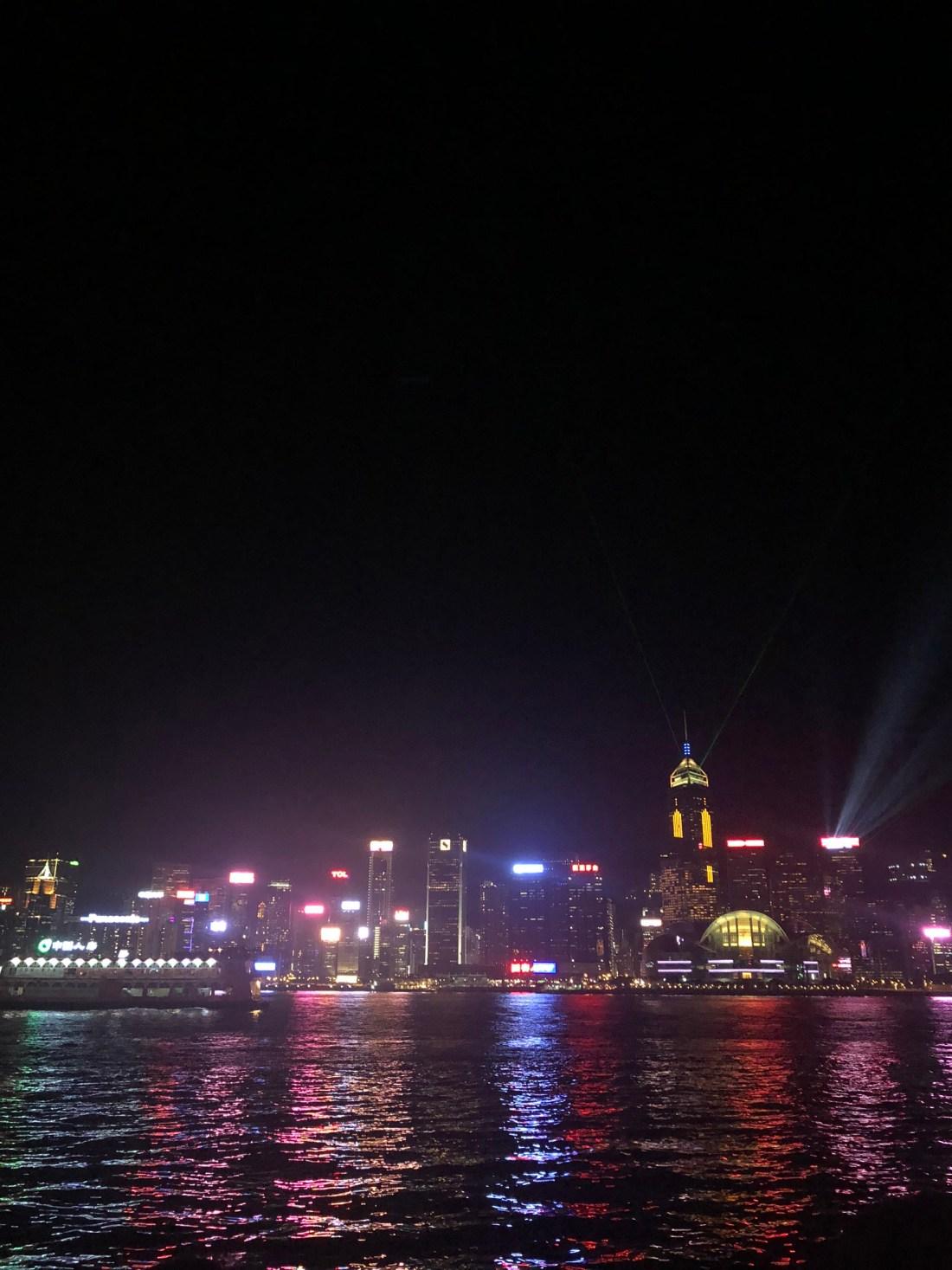 Lights across Victoria Harbour, Hong Kong
