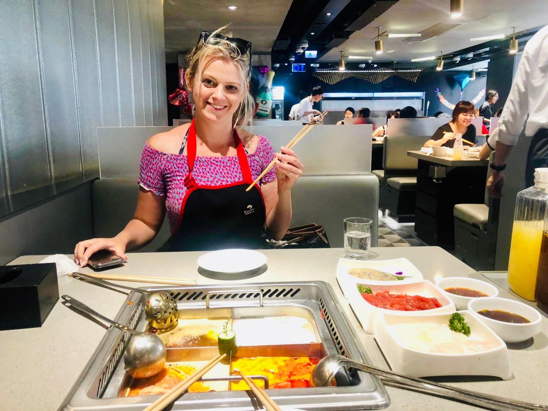 Laura at Haidilao Hotpot, Hong Kong