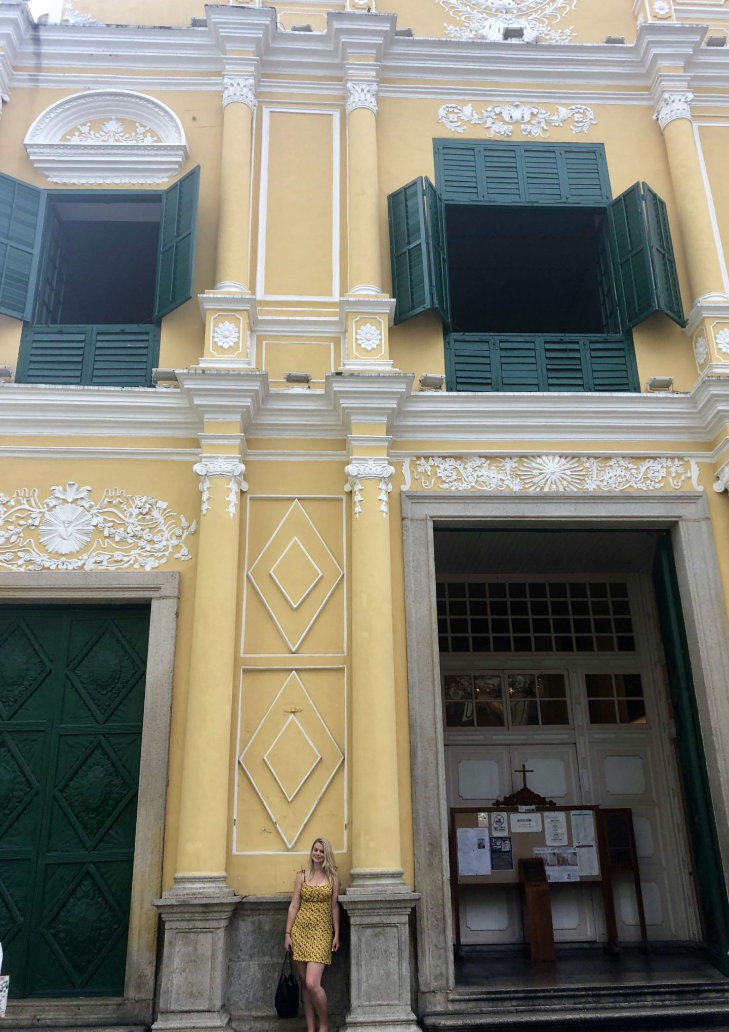 Laura outside St Dominics Church, Macau