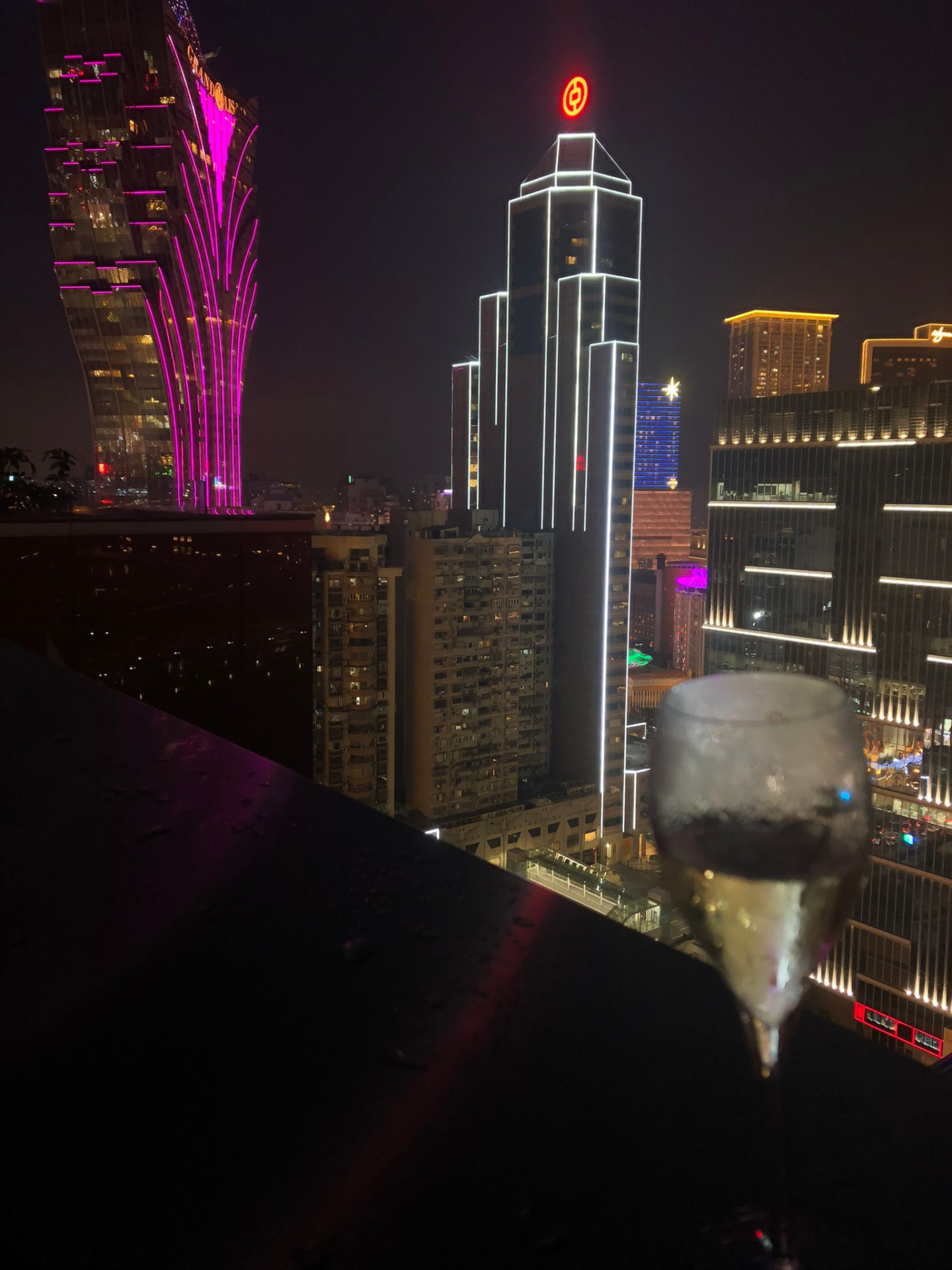Champagne and the Macau skyline