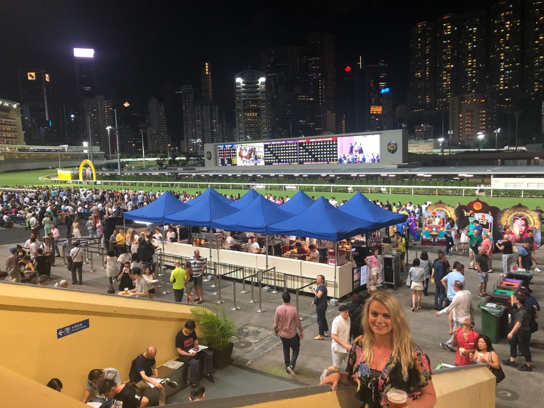 Laura at Happy Valley Racecourse, Hong Kong