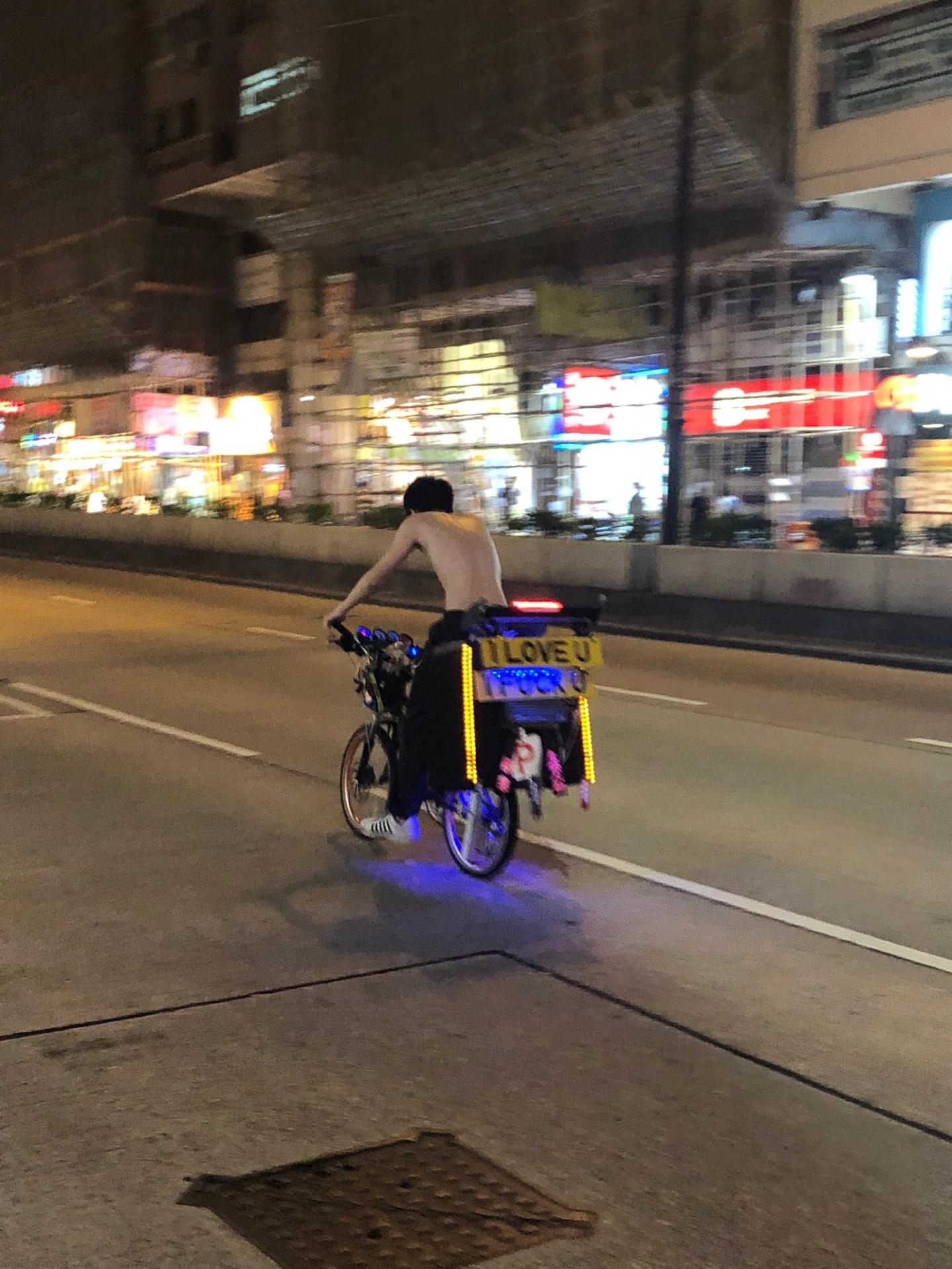Bike on the way to Temple Street Night Market, Hong Kong