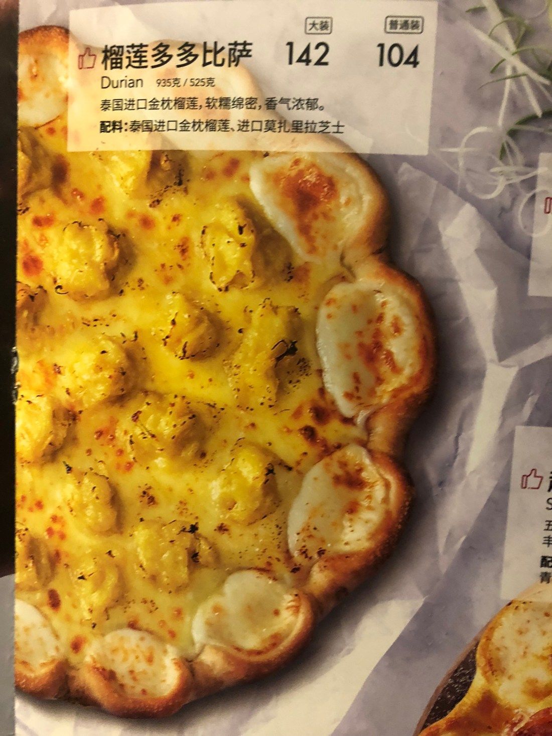 Durian pizza in Beijing Airport