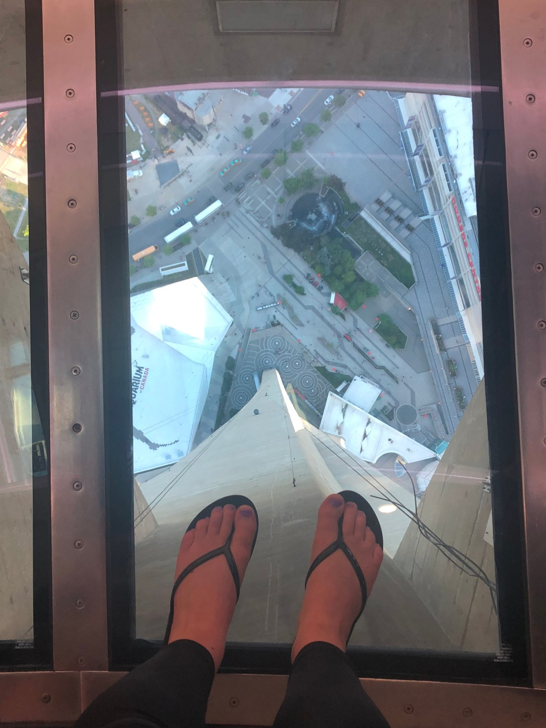 Glass floor in the CN Tower