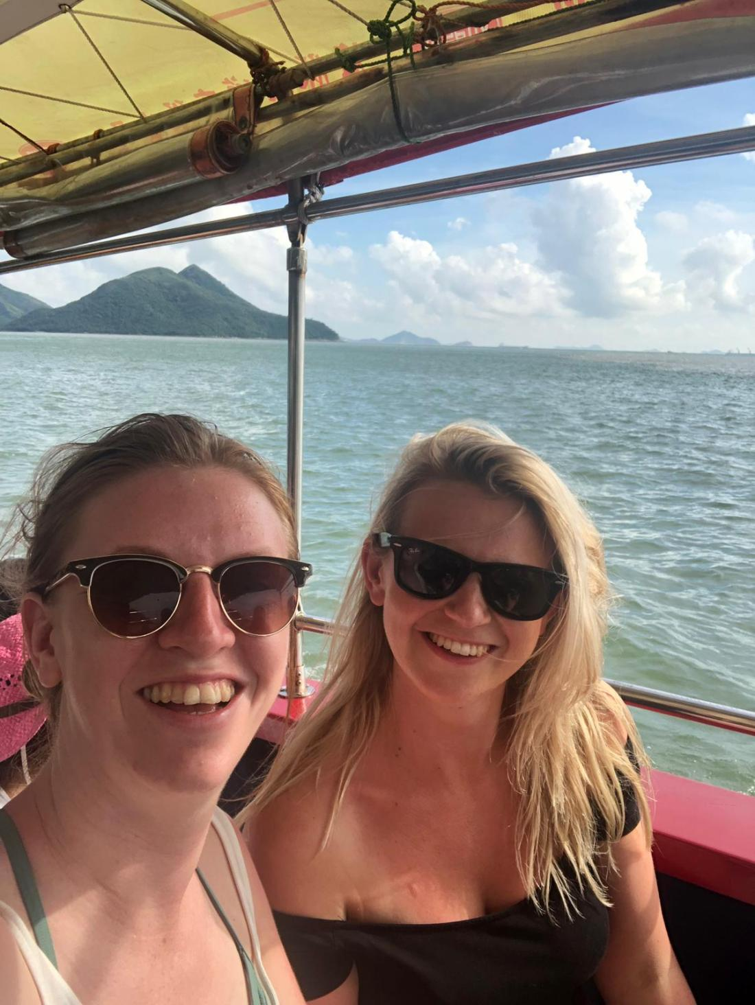 Girls in a boat on Lantau Island