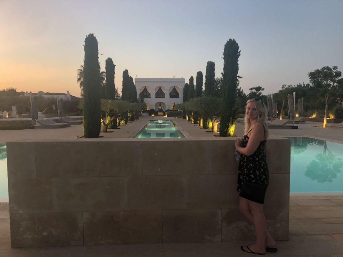 Laura at the Ca Na Xica pool, Ibiza