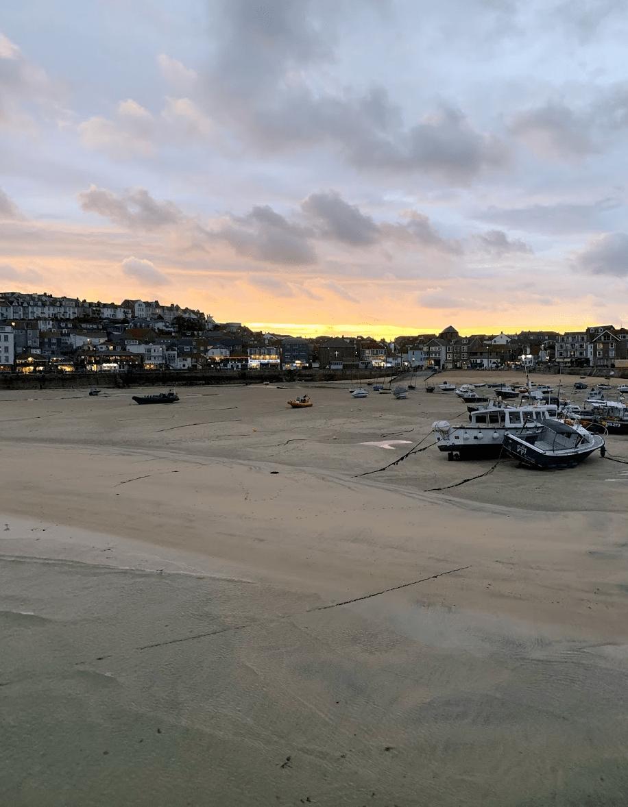 Sunset across the seaside town
