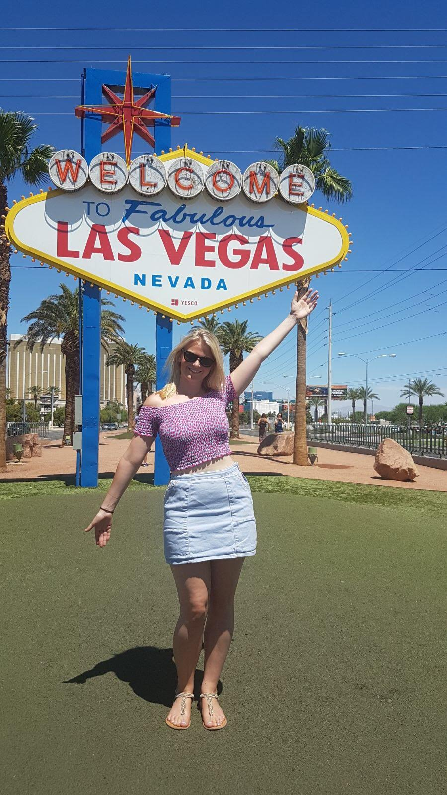 Laura at the Las Vegas Sign