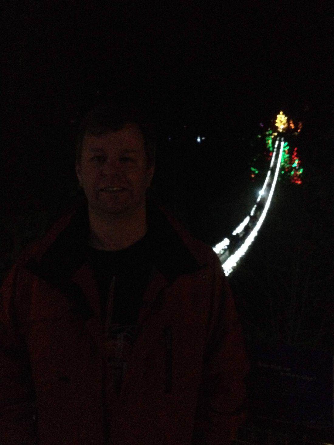 Dad at Canyon Lights at Capilano Suspension Bridge
