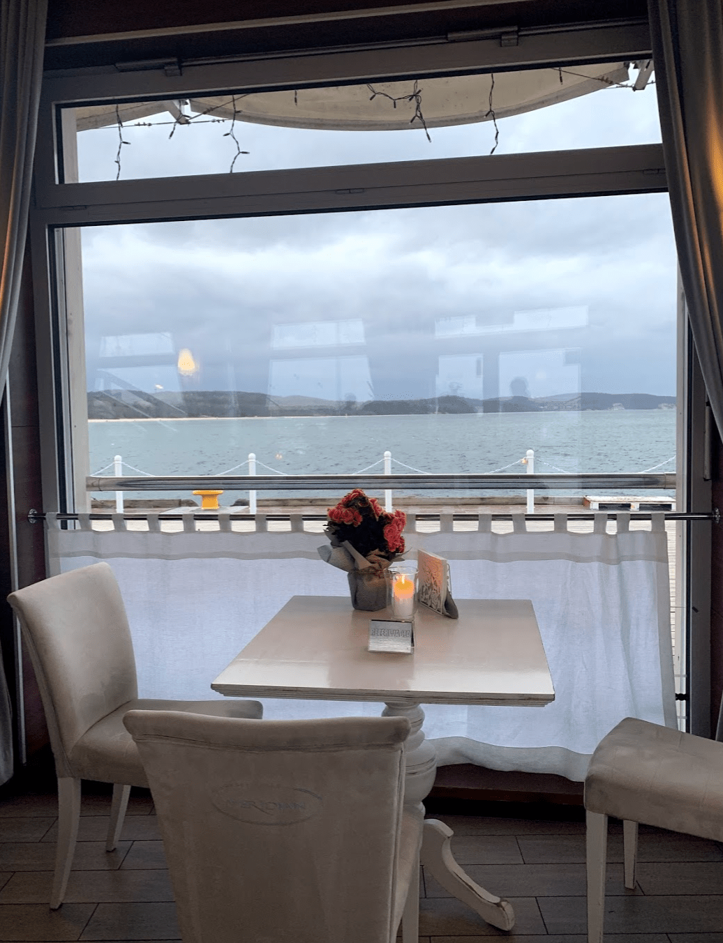 Table at Modern Restaurant on the Pier