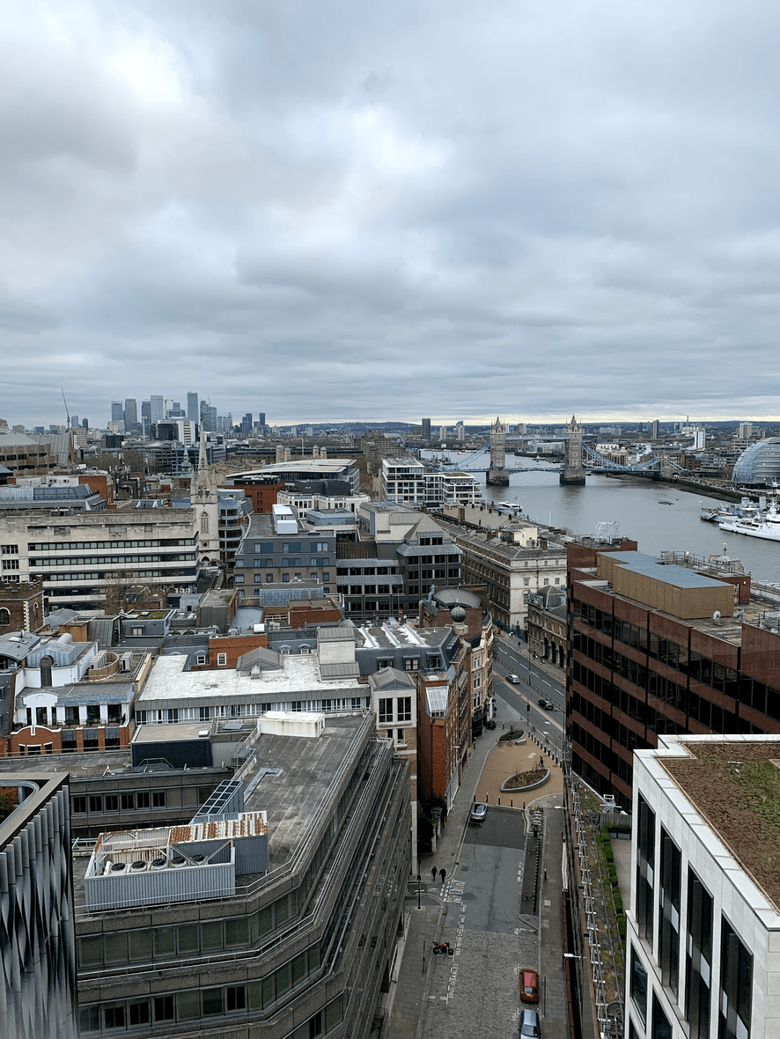 The view from the top of Monument in London