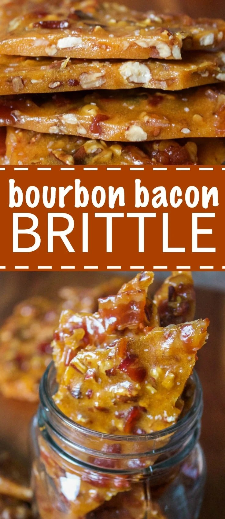 This bourbon bacon brittle is made with candied bacon, toasted pecans and bourbon. It's the crunchiest, most delicious brittle you will ever have.