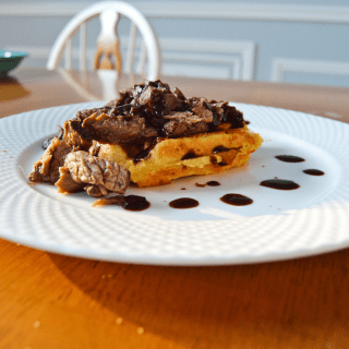 Blueberry Barbacoa with Cheddar Cornbread Waffles