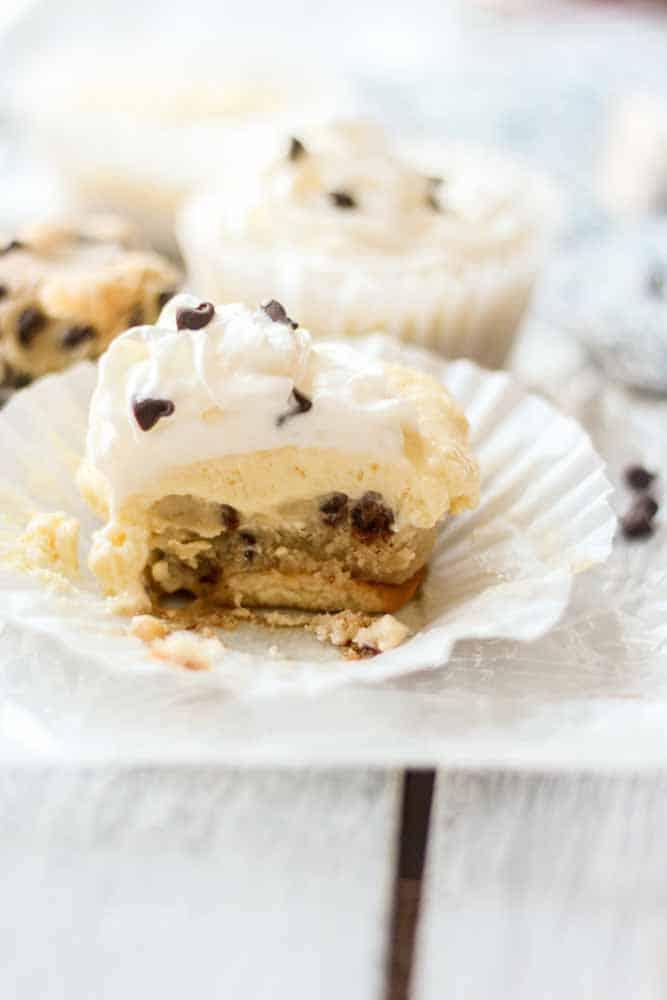 Chocolate chip cookie dough cheesecake bites! These no bake bites are filled with delicious ingredients. The bottom layer is edible cookie dough and the to player is cheesecake made with vanilla pudding. This recipe will impress everyone!