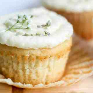 Lavender Vanilla Cupcakes with Honey Buttercream