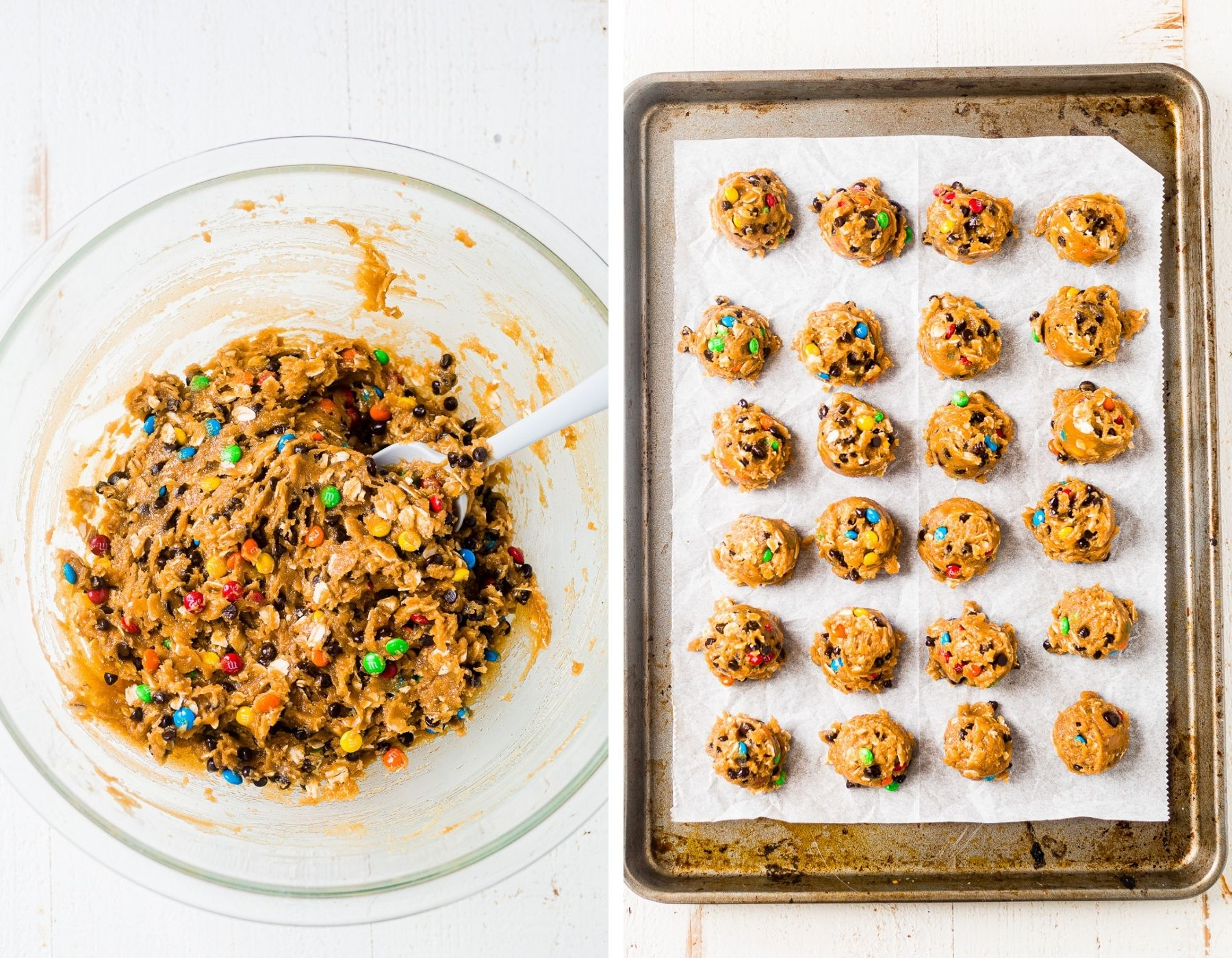 flourless monster cookie dough in a bowl with a spatula and a cookie sheet with the dough scooped into balls