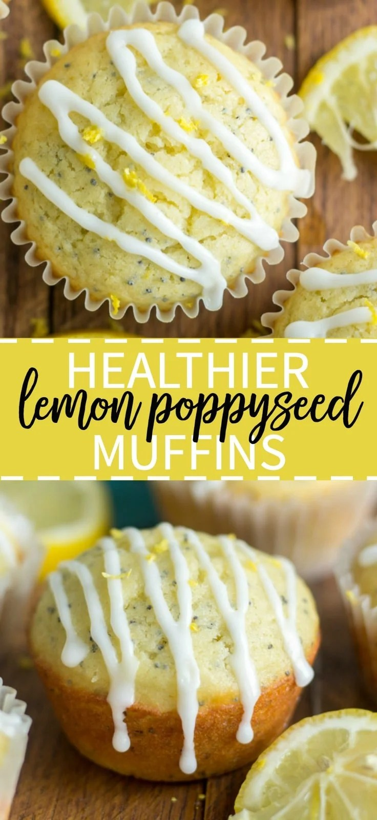 Healthier lemon poppy seed muffins are easy to make and the perfect spring recipe. They're filled with lemon, olive oil and topped with a lemon icing. You will not believe how yummy they are!