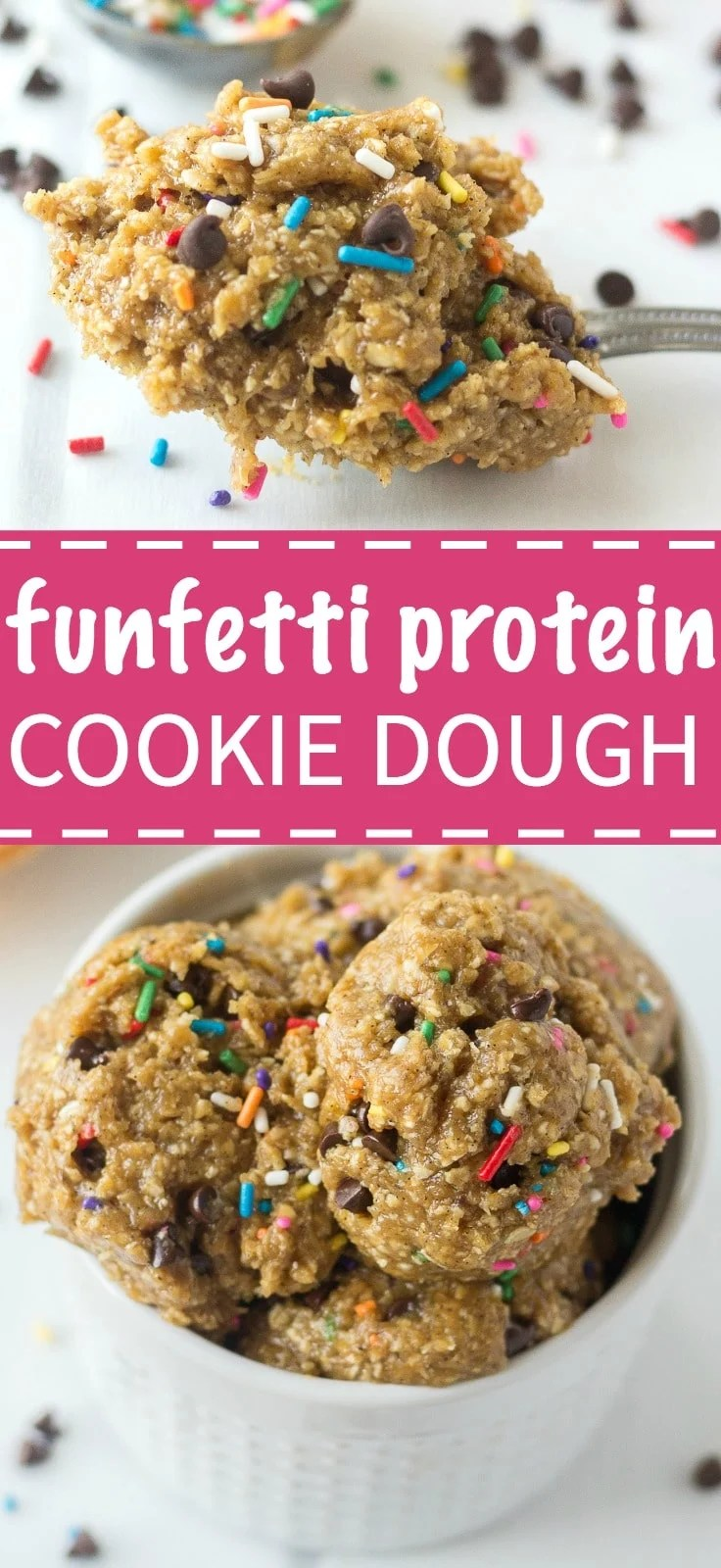 This healthy funfetti protein cookie dough is an easy snack recipe to fuel you up and keep you full. This healthy recipe is made with raw, natural ingredients and filled with flavor and protein.