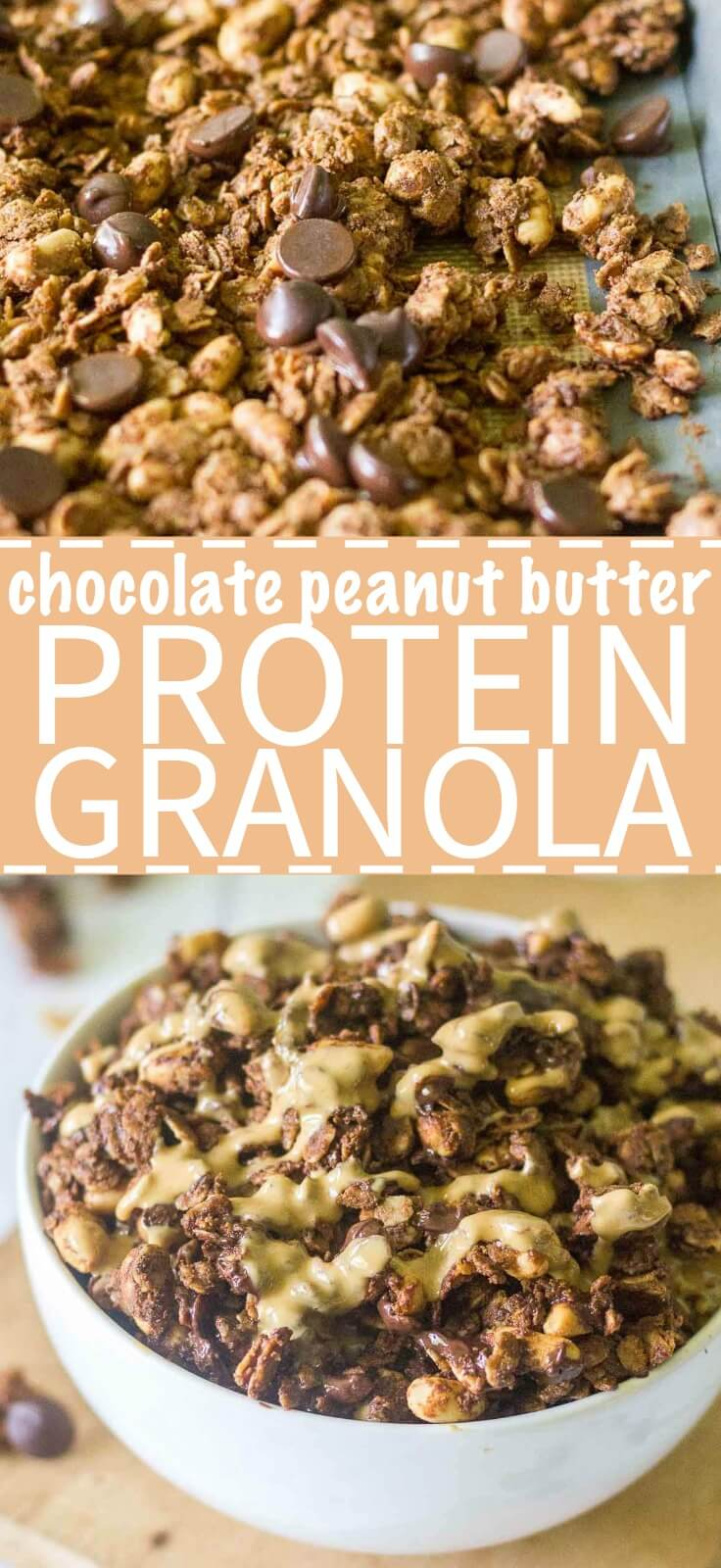 This Chocolate Peanut Butter Protein Granola is crunchy, flavorful and packed with healthy ingredients. It's a delicious way to start the day! The perfect breakfast recipe or snack recipe, this easy granola comes together in minutes and tastes so good.