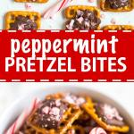 This peppermint pretzel bite recipe will be a huge hit! A pretzel, topped with milk chocolate and sprinkled with peppermint pieces, you can make these bite-sized holiday desserts in under 10 minutes!