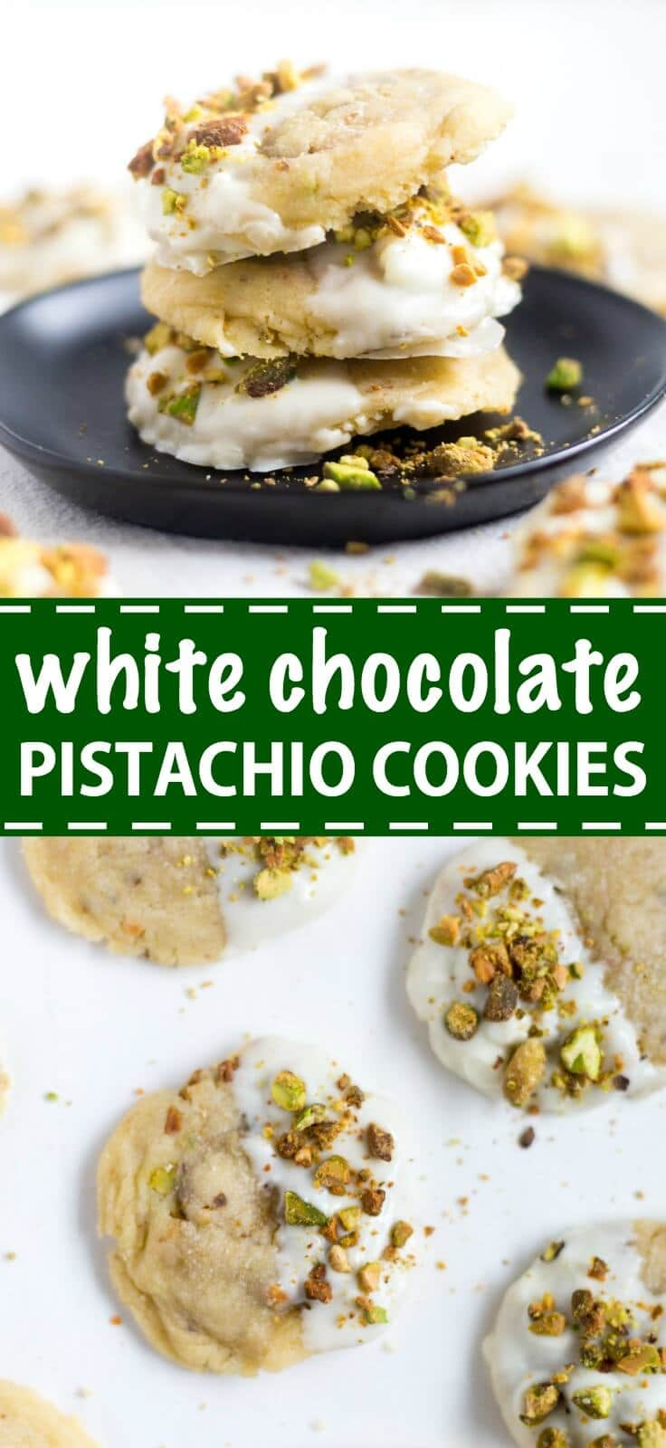 These white chocolate pistachio cookies are such a festive Christmas cookie recipe. They're studded with chopped green pistachios and white chocolate chips then dipped in white chocolate to make them look just as good as they taste.