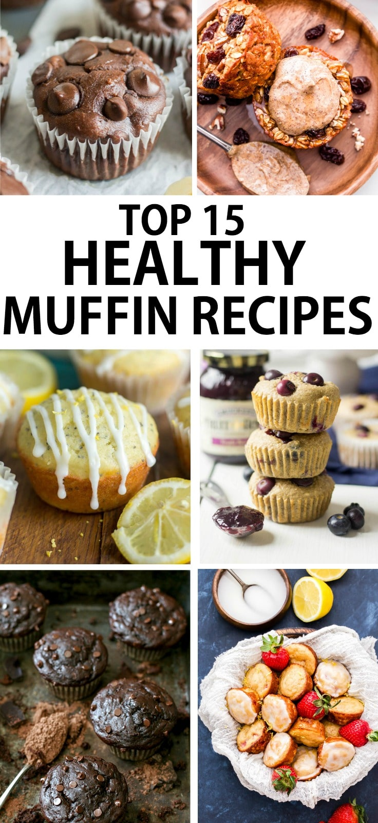 healthy muffins in a collage with a text overlay