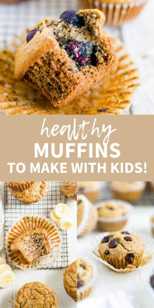 collage of healthy muffins to make with kids