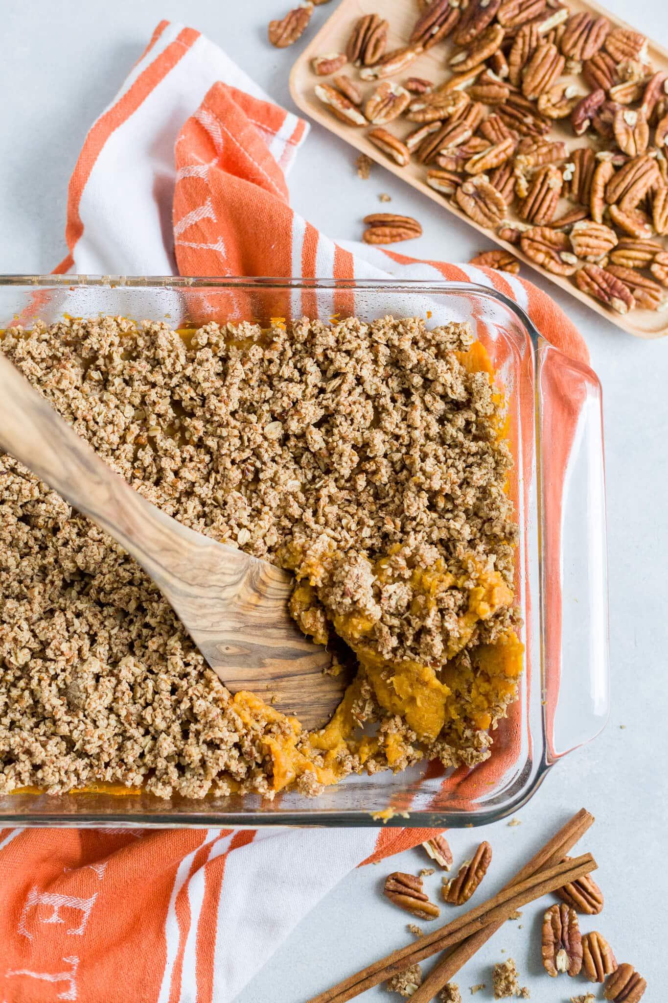 healthy sweet potato casserole with oatmeal