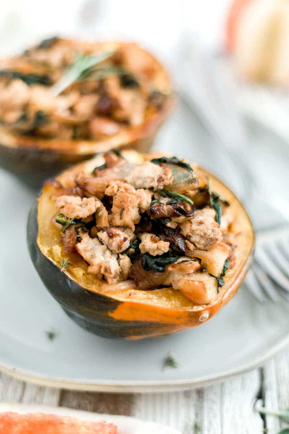 Sausage And Apple Stuffed Acorn Squash Whole30 Paleo What Molly Made