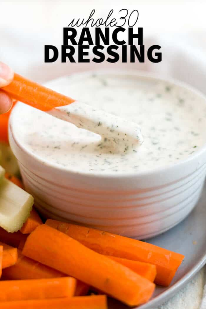 whole30 paleo ranch dressing in a bowl with text overlay