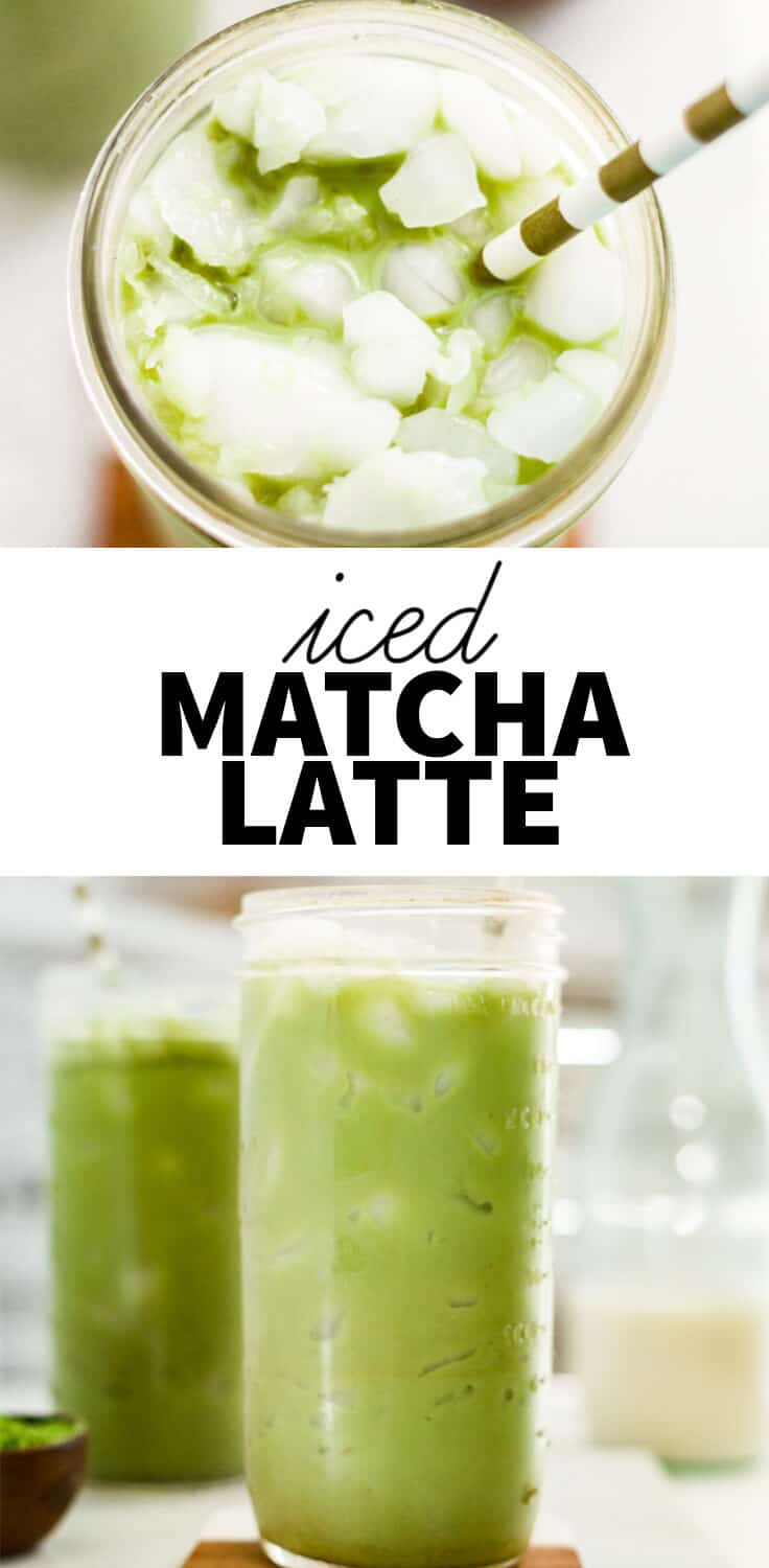 iced matcha latte in a large glass with a text overlay