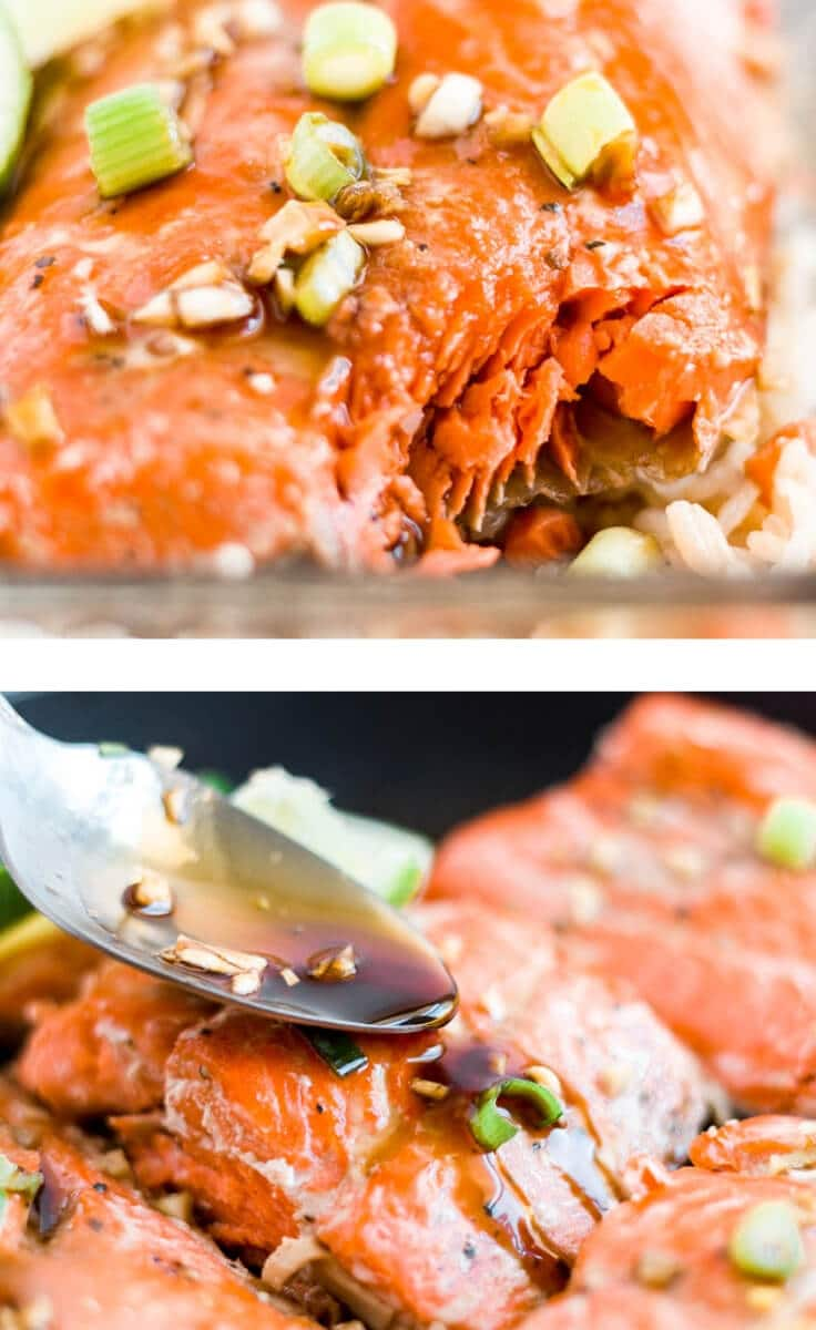 two honey glazed salmon images in a collage
