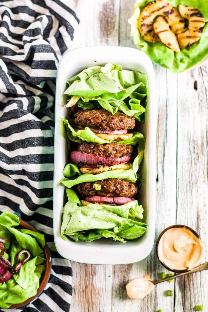 hawaiian teriyaki burgers in a lettuce wrap