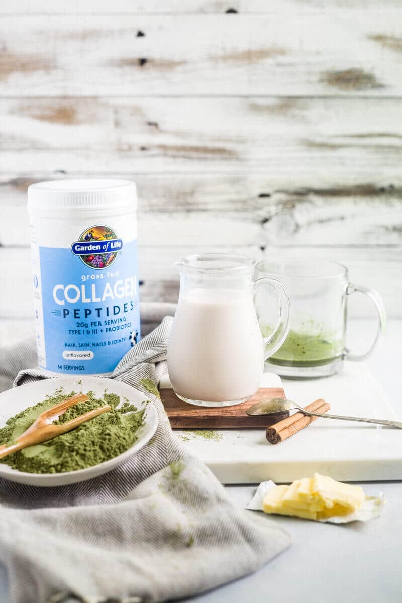 almond milk and ingredients for collagen matcha latte