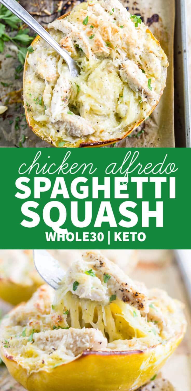 chicken alfredo stuffed spaghetti squash recipe