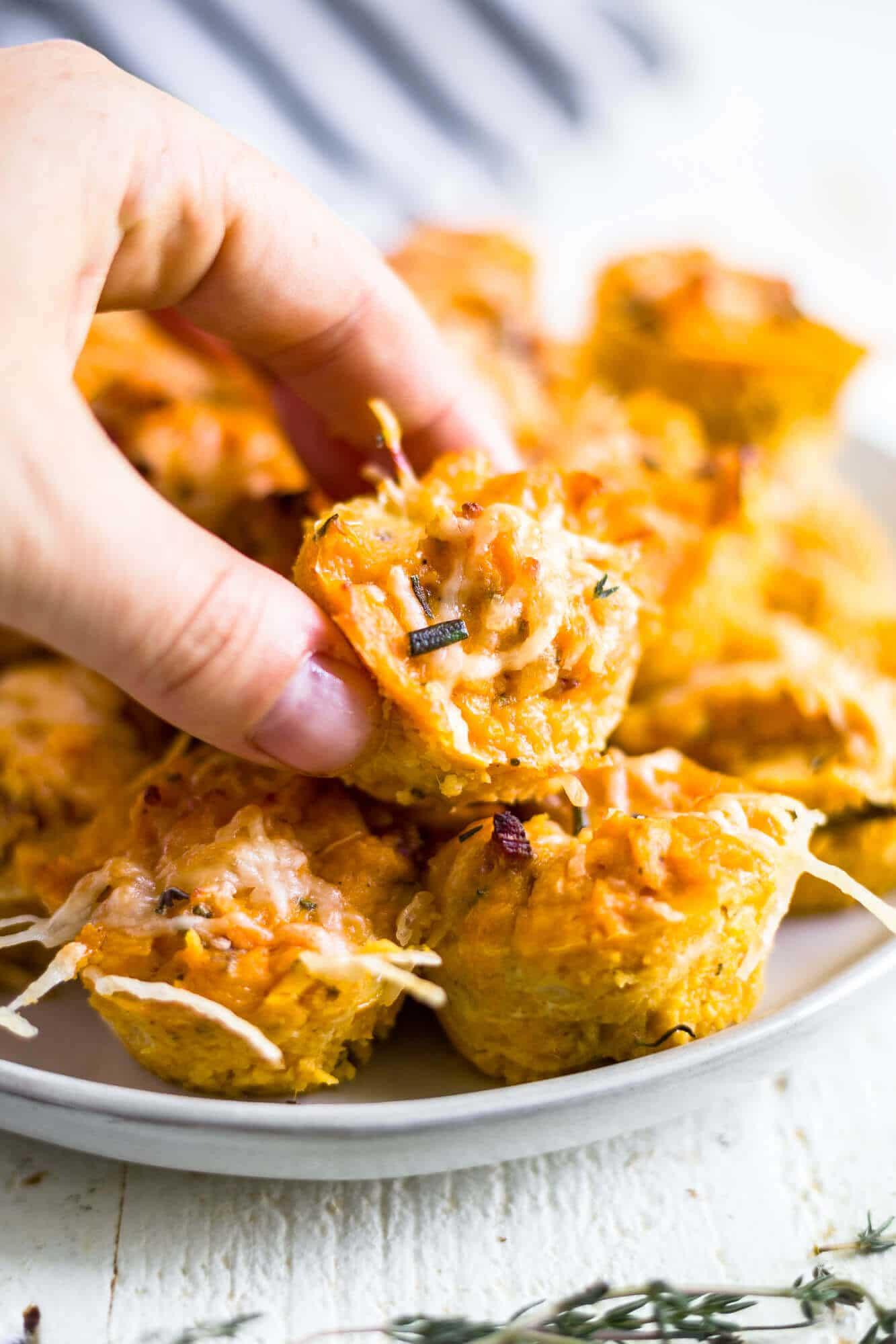healthy sweet potato puffs thanksgiving appetizer