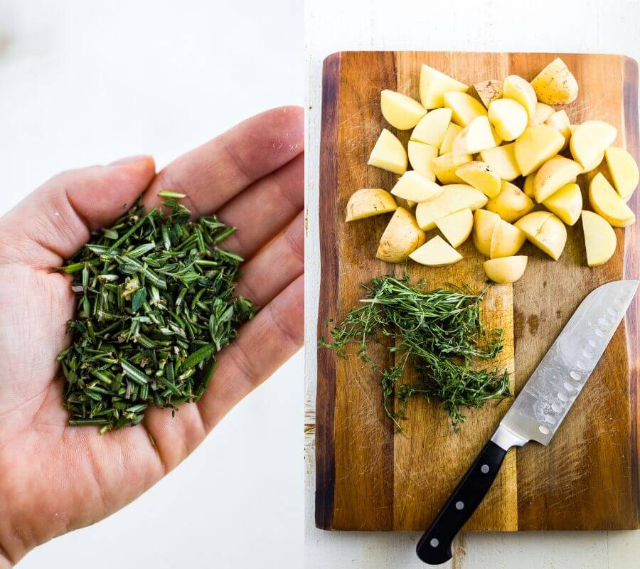 herbs and potatoes for steak bites